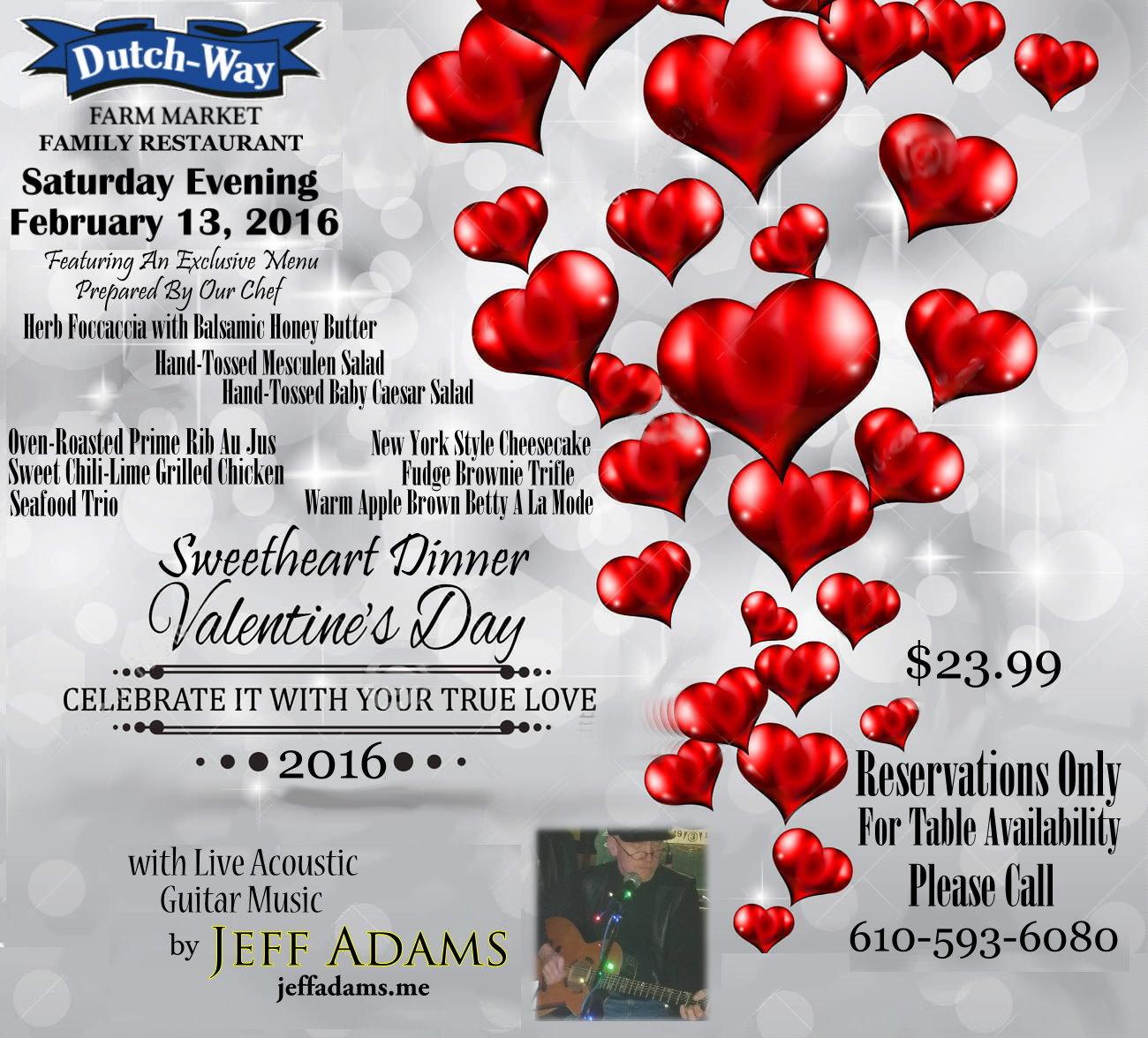 Jeff Adams @ Dutch-Way Family Restaurant on Feb 13th!